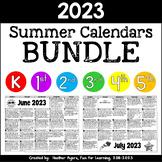 2017 NO PREP Summer Activity Calendars {K-5 BUNDLE}