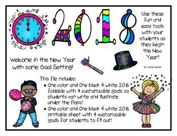 2018 New Year's Goal Setting and Resolutions! Fun Printables & Foldables