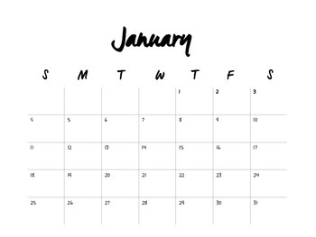 2015 Printable Black and White Calender