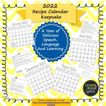 2018 Recipe Calendar Keepsake:A Year of Delicious Speech, Language and Learning