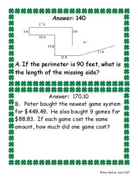 STAAR review 4th grade Math Scavenger Hunt