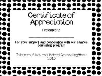 2015 School Counseling Week Certificate