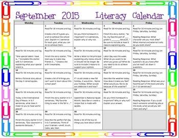 2015 September Writing Prompt Calendar