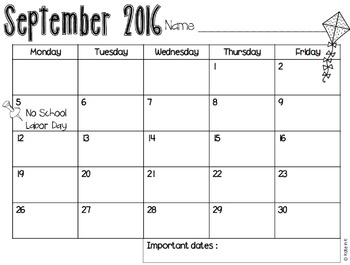 2016-2017 behavior logs / classroom calendars *EDITABLE version*