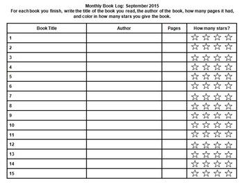 2015 to 2016 School Year Reading Calendar