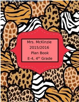 Editable 2015/2016 Lesson Plan Binder Book Cover Leopard