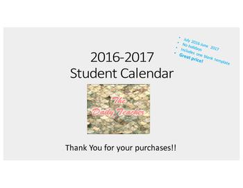 2016-2016 Student Planning Calendar