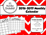 2016/2017 19 month Calendar Black and White