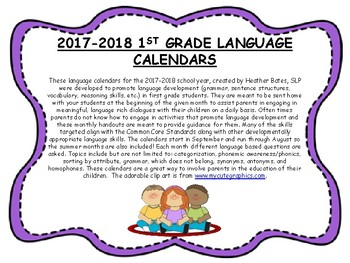 1st Grade 2017-2018 Language Calendars