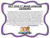 1st Grade 2017-2018 Language Calendars