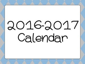 2016-2017 Calendar - Blue Argyle Design