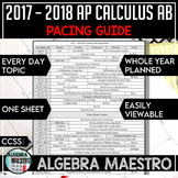 2017-2018 AP Calculus AB Pacing Guide