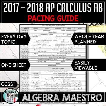 2016-2017 AP Calculus AB Pacing Guide