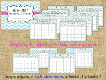 2016- 2017 Academic Calendar {FREEBIE}