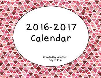 2016-2017 Academic Calendar- Watercolor Theme