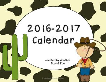 2016-2017 Academic Calendar- Western Theme