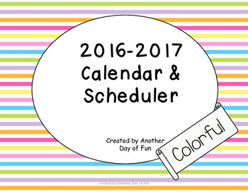 2016-2017 Academic Planner- Colorful Theme