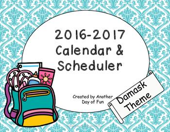 2016-2017 Academic Planner- Damask Theme