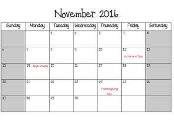 2016-2017 Academic Year Calendar