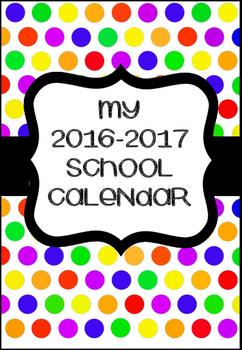 2016-2017 Academic calendar weekly planner