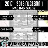2017 - 2018 Algebra 1 Pacing Guide