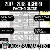 2017 - 2018 Algebra 1 Pacing Guide