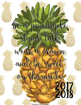 9418dc94336 2017-2018 Pineapple Princess Teacher Planner (Editable)