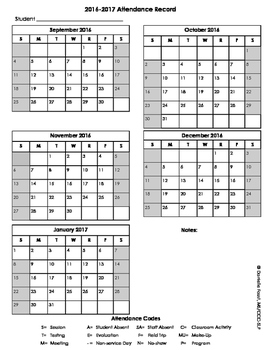 2016-2017 Attendance Form
