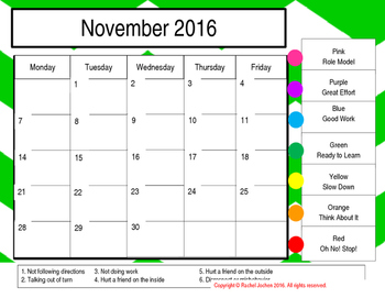 2016-2017 BEHAVIOR CALENDAR