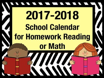 Back-to-School Homework Reading and Math Calendar for 2017-2018