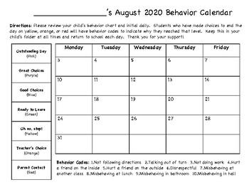 2016-2017 Behavior Calendar