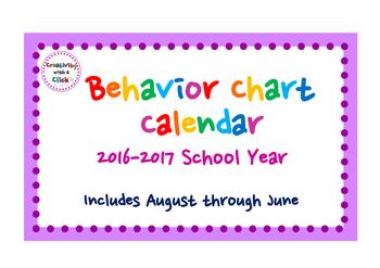 2016-2017 Behavior Calendar (ENTIRE SCHOOL YEAR - August 2016~June 2017)