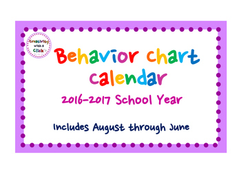 2016-2017 Behavior Calendar (ENTIRE SCHOOL YEAR - August 2