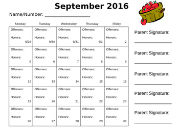 2016-2017 Behavior Calendars