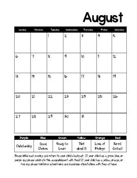 2016-2017 Behavior Calendars and Parent explanation note