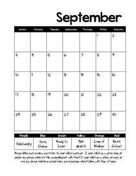 2017-2018 Behavior Calendars and Parent explanation note