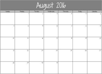 2016-2017 Blank Calendar