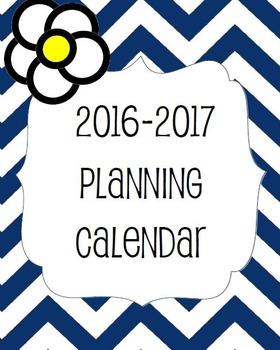 2016-2017 Blank Planning Calendar