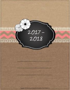 updated 2017-18 Burlap & Lace Teacher Binder, Planner - free updates (Coral)