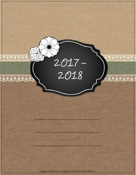 UPDATED for 2017-18 Burlap & Lace Teacher Binder/Planner - free updates (Green)