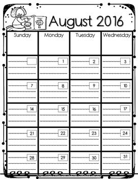 2016-2017 Calendar Kiddo Edition
