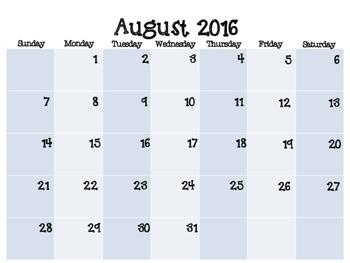 2016-2017 Calendar- Black & White