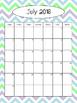 2016-2017 Calendar - Blue, Green, and Gray Chevron