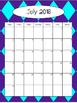 2016-2017 Calendar - Dark Purple and Aqua Argyle