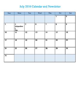 2016-2017 Calendar & Newsletter Template
