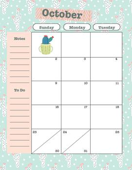 2016-2017 Calendar Pages for Teacher Binder/Planner