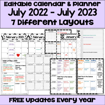 Editable 2017-2018 Calendar and Planner (3 Versions) in Black and White