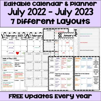 Editable 2016-2017 Calendar & Planner (3 Versions) in Blac