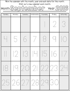 2016-2017 Calendar Traceable Numbers