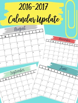 2016-2017 Calendar Updates for all Binders (Editable)
